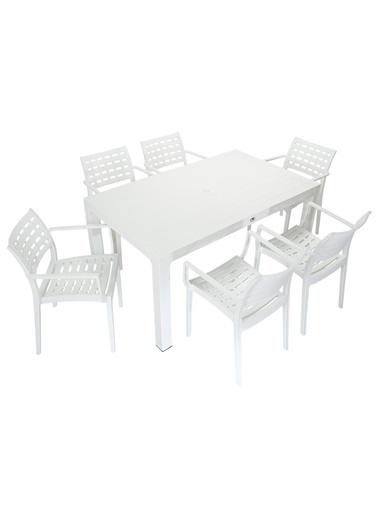 Mandella Wood 90x150 Cafe Koltuk Masa Takımı Beyaz